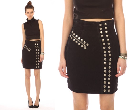 black leather skirt suede // vintage 80s // punk silver studs studded zipper // chia // pencil mini // high waisted // classic // small