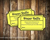 INSTANT DOWNLOAD- Yellow Printable Baby Shower Diaper Raffle Ticket