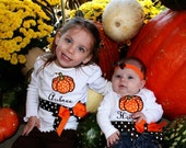 Personalized Fall Pumpkin Ribbon/Bow Onesie/T-Shirt....Halloween, Thanksgiving