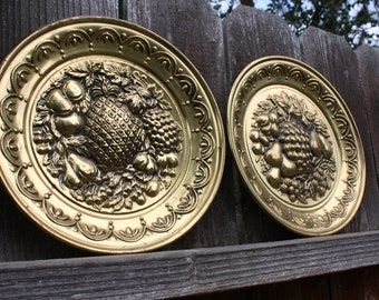 Brass Plate Trays, Ready to Hang, Gold Fruit Design, Collectable Tins