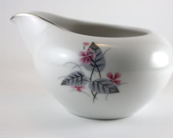 Creamer Made By Lyric, Vintage Serving Dinnerware, Delicate Design, Flowers And leaves, Handle Free