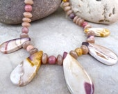 Mookaite Fancy Jasper Necklace - Luscious Mauve Mookaite Pink Moonstone One of a Kind Necklace