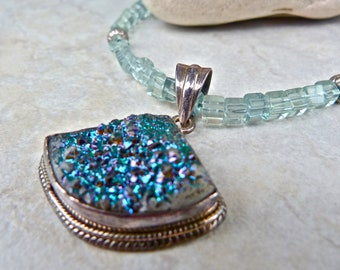 Blue Green Drusy Pendant with Fluorite and Silver Sparkle Gemstone Necklace
