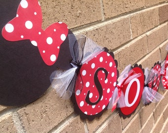 Minnie Mouse Inspired Name Banner Red with White Polka Dots