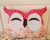 Whimsy/ Smiling Vintage Pink Lady Owl Pillow (felt eyes & mouth) - Reserved for Allen
