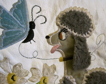 Poodle Applique Vintage 60s Embroidered Poodle Butterfly Flowers on Vinyl for Craft Repurpose Sewing Supplies Trim ADORABLE