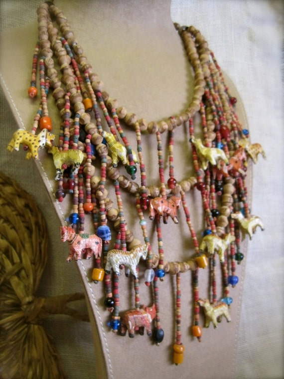 African Safari Necklace Bib: Oversized Tribal Handmade Neckpiece Vintage 70s Hippie Statement Wild Animals Hand Crafted
