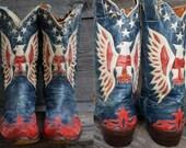 1940s Custom American Flag Stewart Romero Rockabilly Leather Western Cowboy Distressed Boots