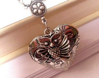 Heart Locket - Locket Necklace - Owl Necklace - Heart Necklace - Love Necklace