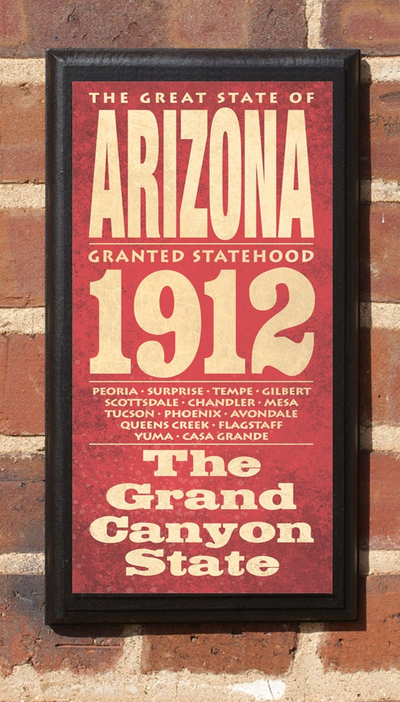 Arizona Az State Wall Art Sign Plaque Gift Present Home Decor