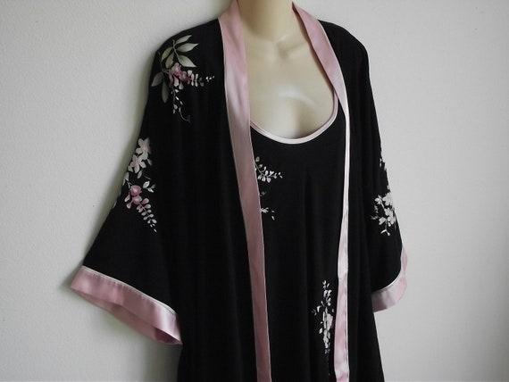 Vintage nightgown robe peignoir set Oscar de la Renta black & pink  S M