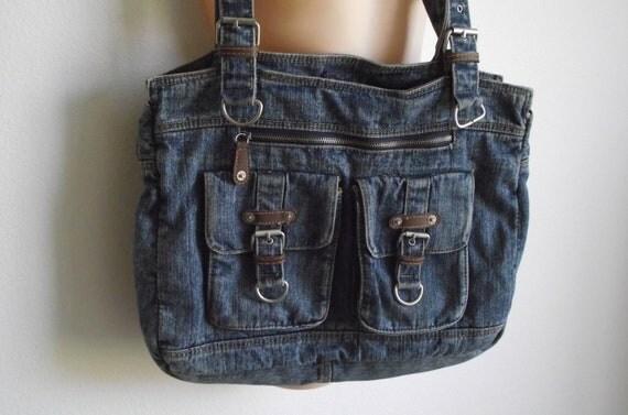 Vintage Tote denim book bag shoulder handbag BOHO distressed jeans purse