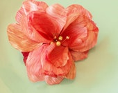 Pink Wedding Hair Flower, pink Clip, Pink Silk Flower,Pink with green pearls