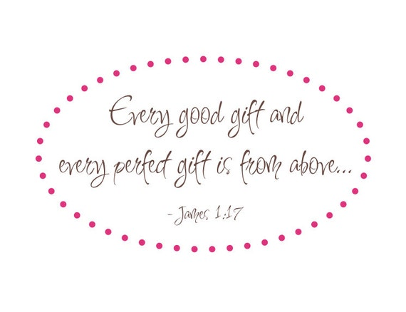 """Every Good Gift Scripture Vinyl Wall Decal Bible Verse James 1:17 for Girl Boy Baby Nursery 22""""H x 38""""W"""