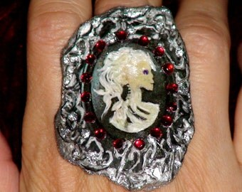 MISS SKELETON RING -- Skull Ring Black Ivory Victorian Style Goth Lady Cameo Ring Silver Black Red Gemstone Ring Jewelry by bohogypsydesigns