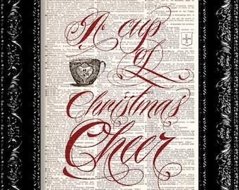 Christmas Cheer - Holiday Print - Vintage Dictionary Print Vintage Book Print Page Art Upcycled Vintage Book Art