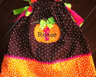 Boutique Fall Chic Pumpkin with Initial Or Age Pillowcase Dress Sizes 3M to 5T