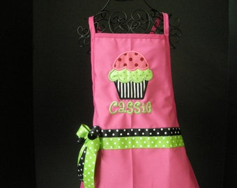 Childs Pink Personalized Cupcake Apron
