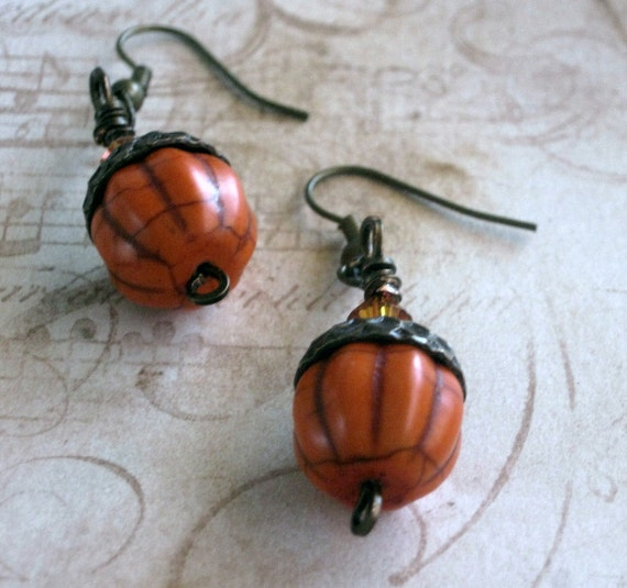 Acorn Earrings Wrapped With Antique Brass