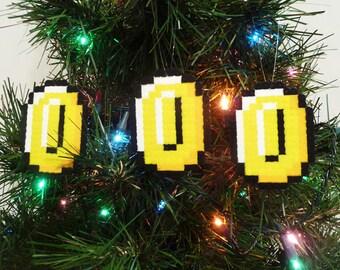 3 Mario bros. Coins Perler Bead Christmas Ornaments - nintendo