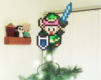 Zelda Link To The Past Perler Bead LINK Christmas Tree Topper - nintendo