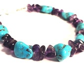Turquoise and Amethyst Chunky Bracelet