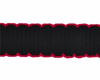 NOODLE HUGGER Non slip ribbon headband - black with pink moonstitch - 7/8 inch (running, working out, everyday: women and girls)