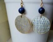 Blue Grass Forest - Mother of Pearl Blue Earrings, Brass Earrings, Asian-inspired, oriental earrings