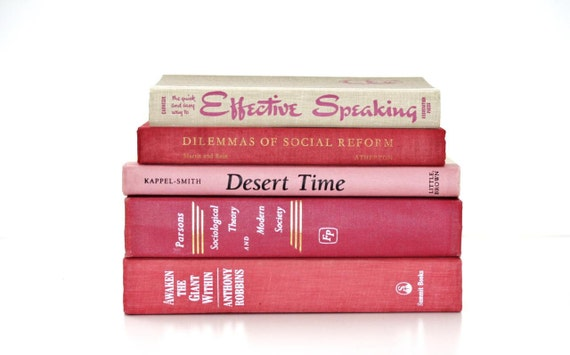 Vintage 5 Book Collection Interior design Pink vintage Book Decor
