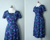 1950s silk novelty print dress // Garden Mosaic // vintage party dress size medium large