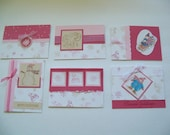 Pink Christmas Winter Cards - Set of 6