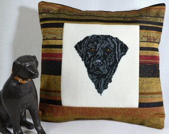 Black Labrador Retriever Cross Stitch Pillow Cover Handmade