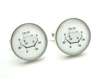 Sugar Glucose Symbol Cufflinks - scientific keepsake gift for the groom or groomsmen or birthday gift