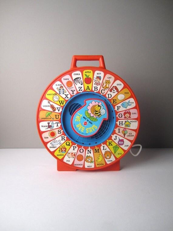 v i n t a g e Childrens Red Mattel See N Say ABC Toy
