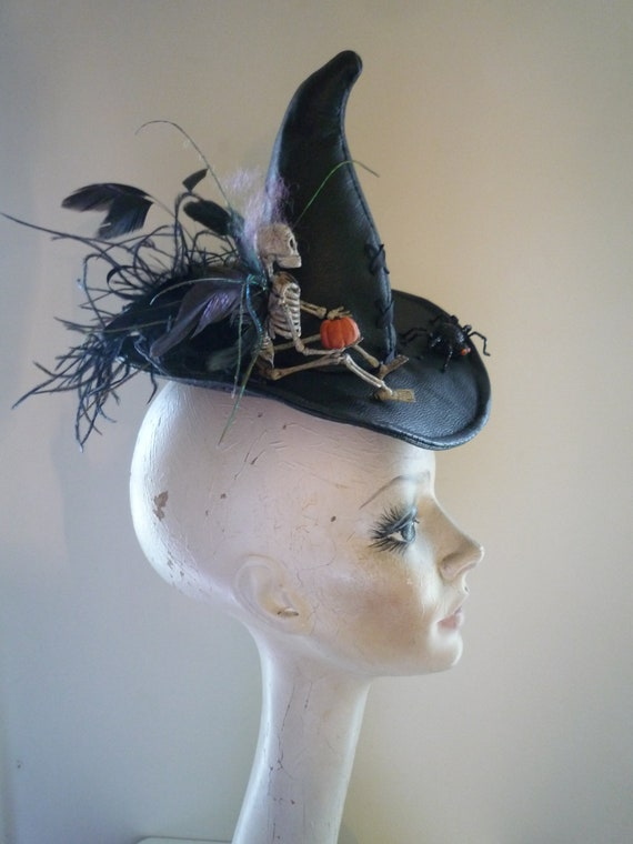 Tiny Halloween Witch Hat Fascinator Bad Faerie Skeleton Fairy OOAK