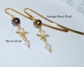 Metal Bookmark, Gold Bookmark, Orchid Flower Bookmark, Crystal Pearl Bookmark, Brown, Antique Brass, Christmas Gift