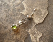 Barbell Belly Button Jewelry / Belly Button Ring in Sterling Silver & Peridot - Unique Artisan Body Jewelry
