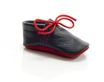 Lambswool lined navy blue and red handmade leather shoes for baby, toddler and children