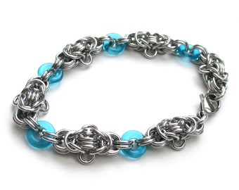 Byzantine chainmail bracelet with turquoise glass accents