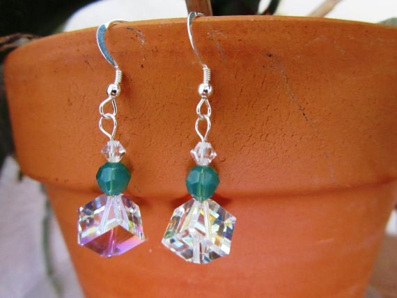 Swarovski Crystals Crystal  Dice with Palace Green Opal Earrings, Sterling Silver