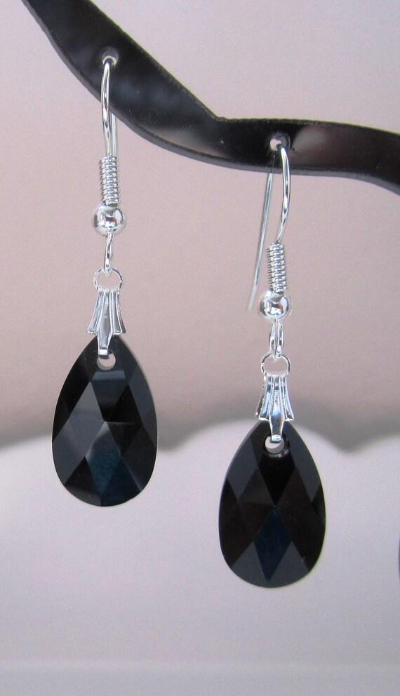 Swarovski Crystals Jet Pear Earrings