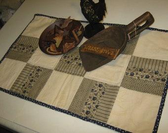 Primitive OOAK Quilt Pieced  Artist  Lg.  Revolutionary War Era Reproduction Table Runner Candle Mat Country Folk Art Primitive