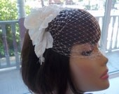 Ivory Birdcage Veil, Headband - Velvet and Lace Fascinator, Vintage Style,  Cream Bridal Headpiece, A Bijoux Bridal Chicago Signature Design