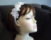 Bridal Headband or Wrist Cuff - Lace and Rhinestones - Natalie in White