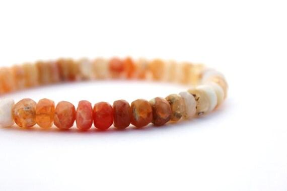 fire opal bracelet beaded gemstone bracelet mexican fire opal sterling silver