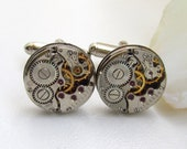 Steampunk Cufflinks with small vintage watch movements, Men's accessories, Steampunk for men