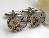 Steampunk Cufflinks with small round vintage watch movements.  Vintage upcycled mens Cuff Links,  Gift under 30 Dollars