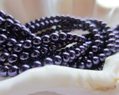 Glass Pearls 4mm Round Dark Purple 1 Strand