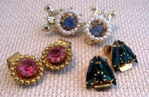 Hold for Lidia- Vintage Pink, Green, and Blue Rhinestone Clip on Earrings: Set of 3