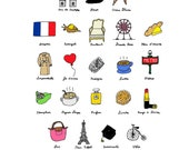 I Dream of Paris (French ABC's)- 8x10 Illustration Art Print